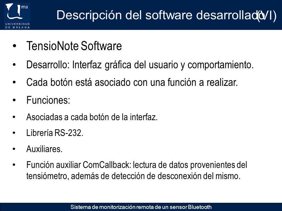 Descripción del software desarrollado (VI)