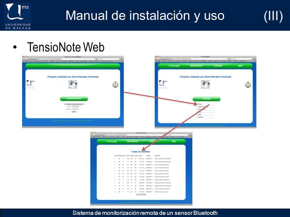 Manual de instalación y uso (III)