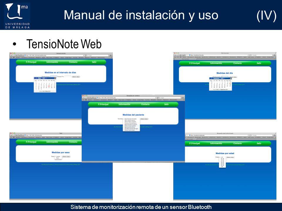 Manual de instalación y uso (IV)