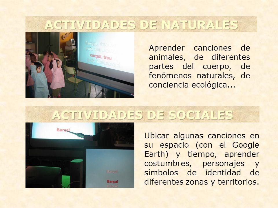 ACTIVIDADES DE NATURALES ACTIVIDADES DE SOCIALES