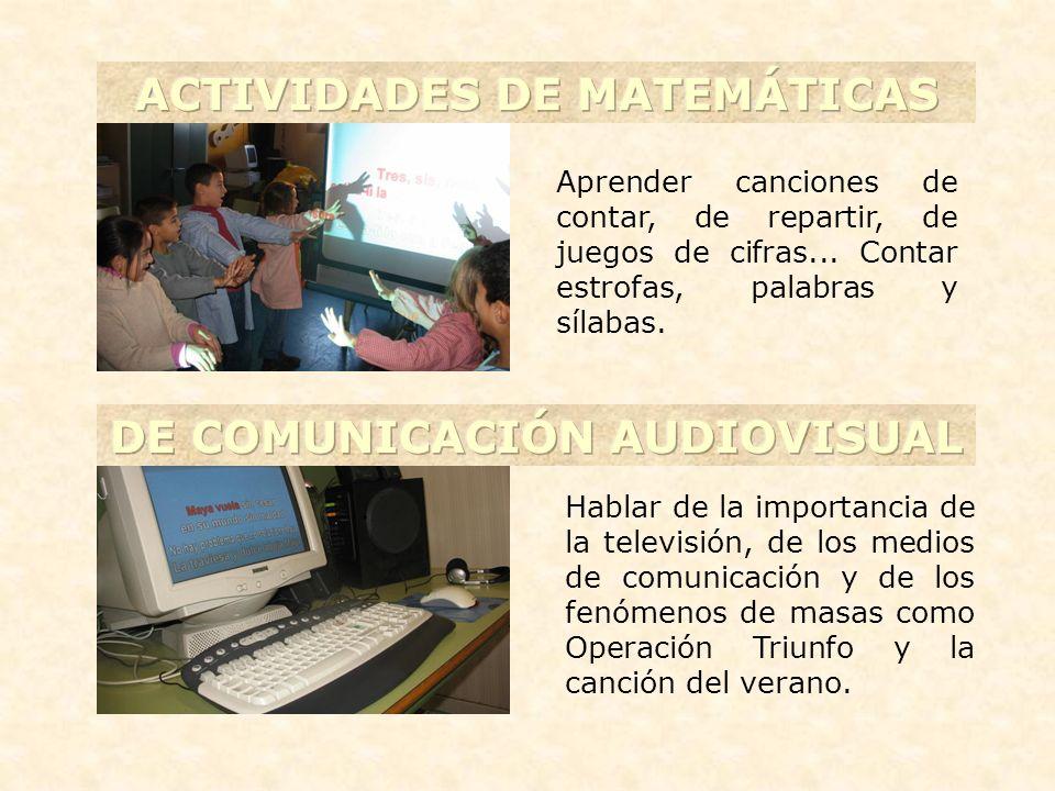 ACTIVIDADES DE MATEMÁTICAS DE COMUNICACIÓN AUDIOVISUAL