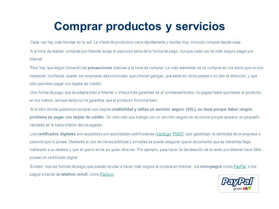 Comprar productos y servicios