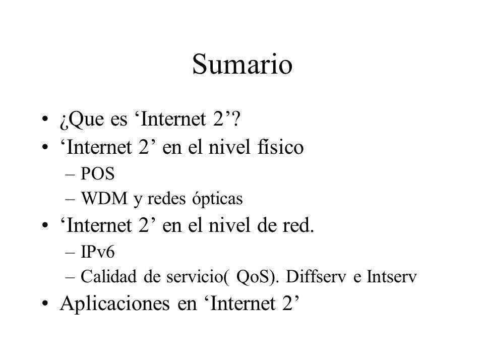 Sumario ¿Que es 'Internet 2' 'Internet 2' en el nivel físico