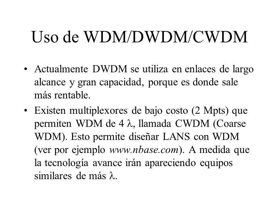 Uso de WDM/DWDM/CWDM Actualmente DWDM se utiliza en enlaces de largo alcance y gran capacidad, porque es donde sale más rentable.