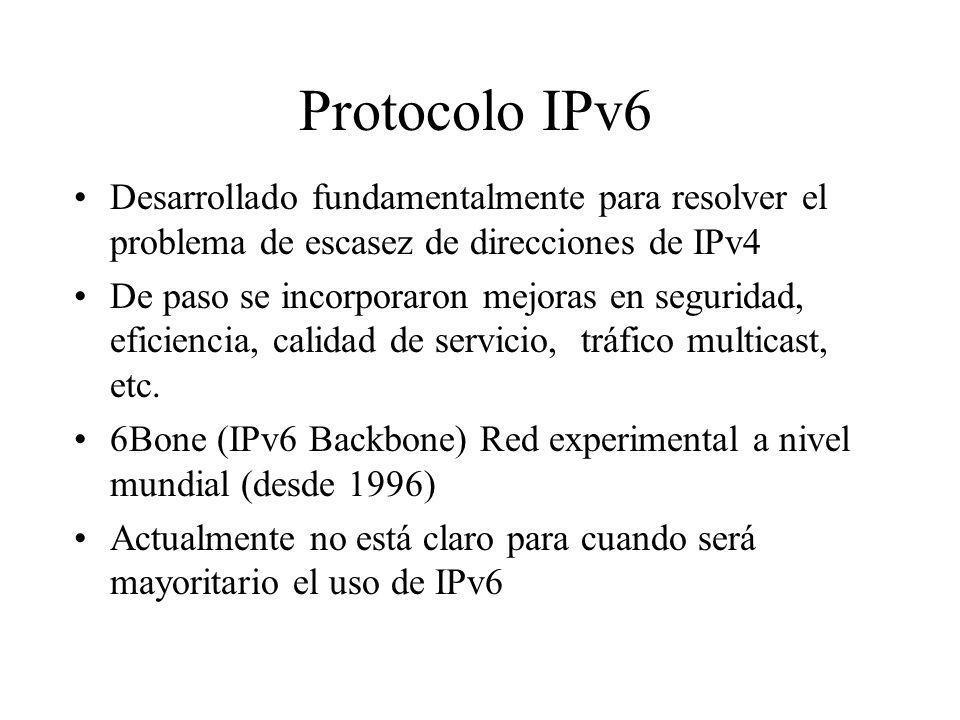 Protocolo IPv6 Desarrollado fundamentalmente para resolver el problema de escasez de direcciones de IPv4.