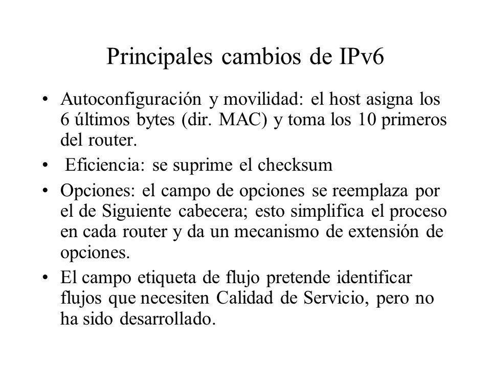 Principales cambios de IPv6