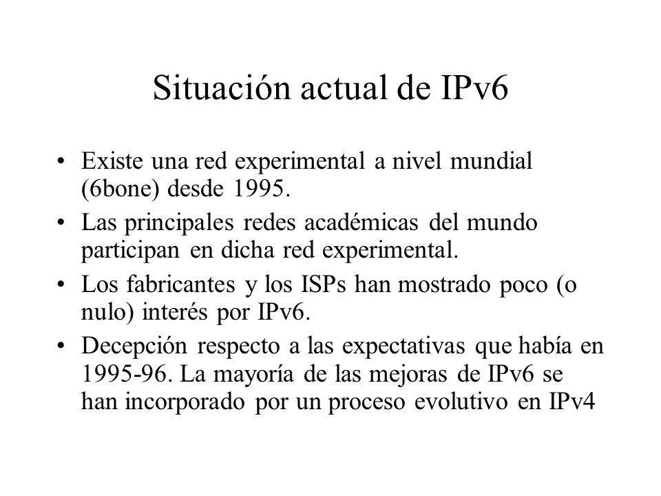 Situación actual de IPv6