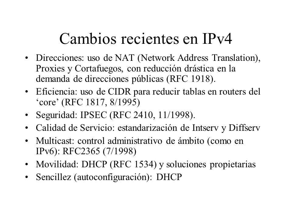 Cambios recientes en IPv4
