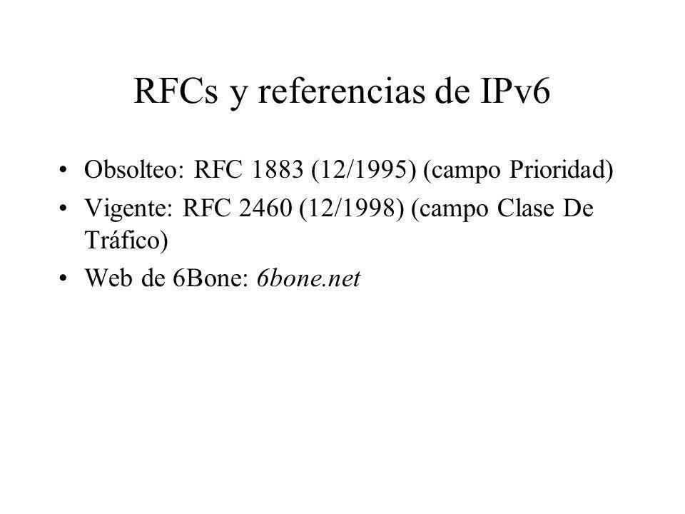 RFCs y referencias de IPv6
