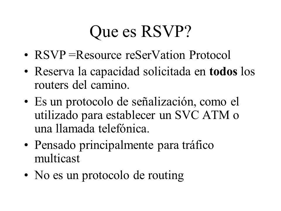 Que es RSVP RSVP =Resource reSerVation Protocol