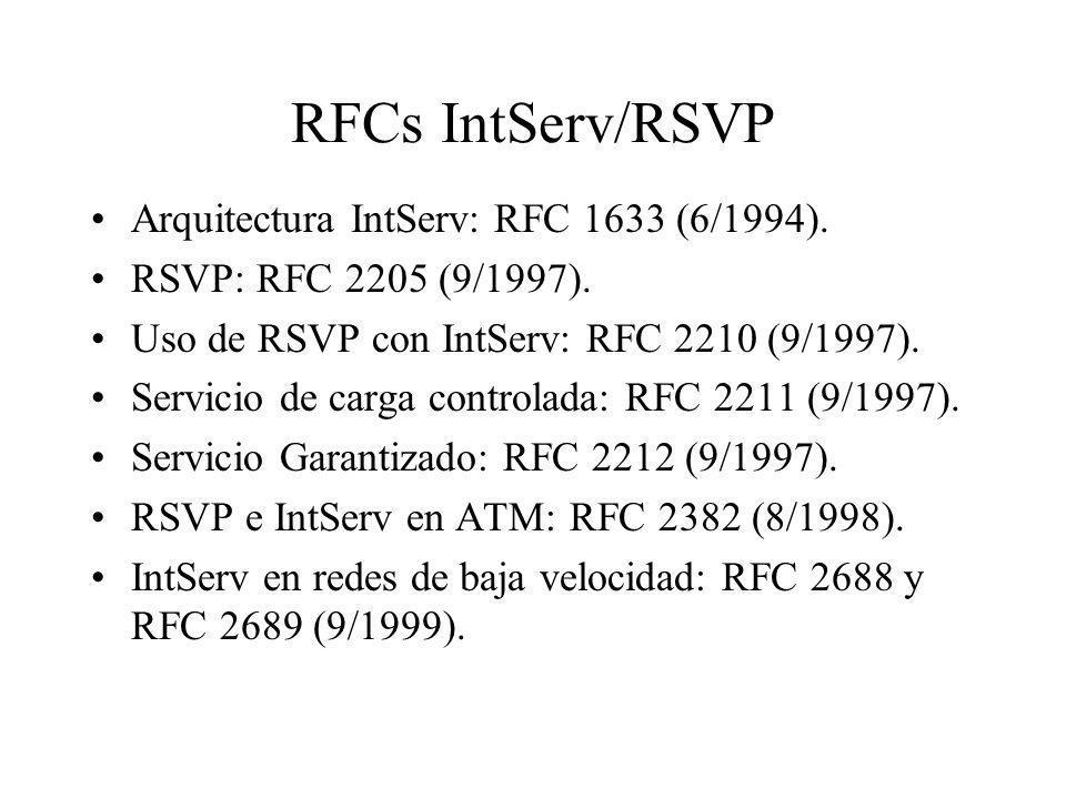 RFCs IntServ/RSVP Arquitectura IntServ: RFC 1633 (6/1994).