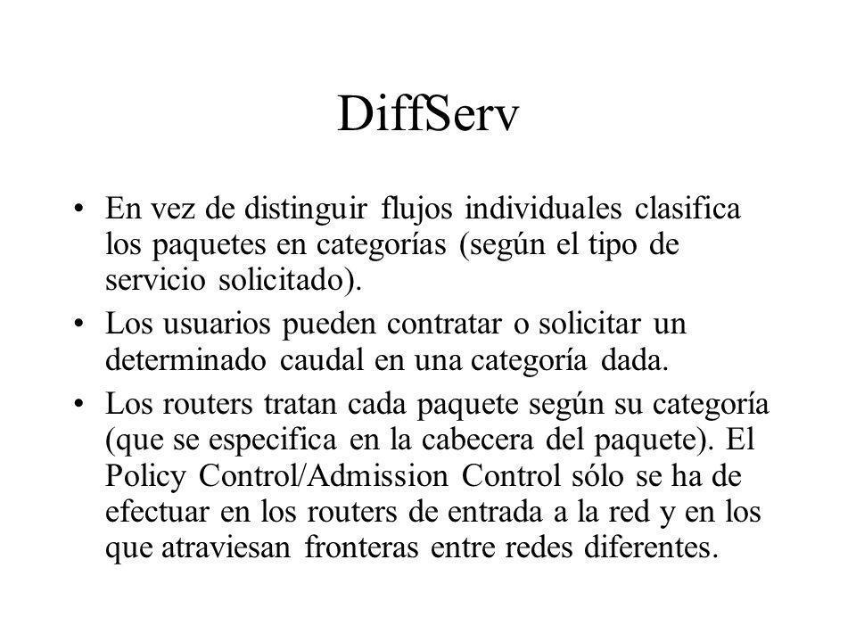 DiffServ En vez de distinguir flujos individuales clasifica los paquetes en categorías (según el tipo de servicio solicitado).