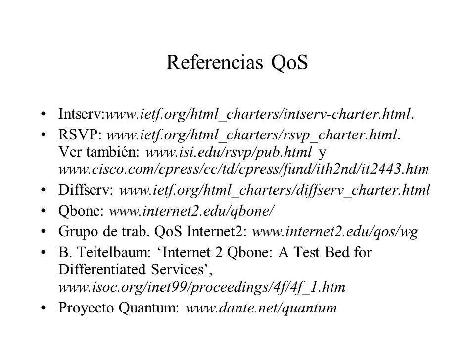 Referencias QoS Intserv:www.ietf.org/html_charters/intserv-charter.html.