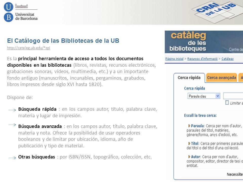 El Catálogo de las Bibliotecas de la UB