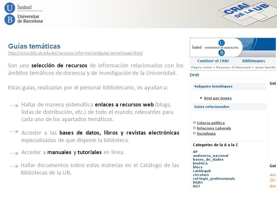Guías temáticas http://www.bib.ub.edu/es/recursos-informacion/guies-tematiques/dret/