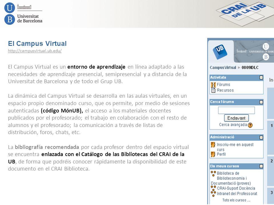 El Campus Virtual http://campusvirtual.ub.edu/