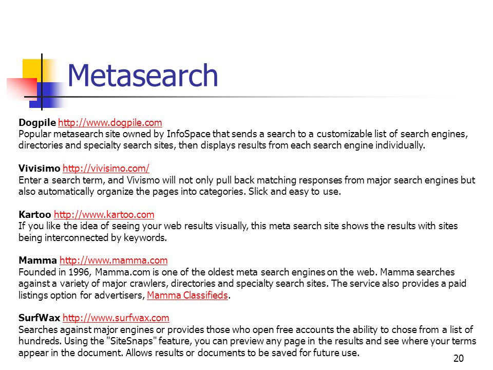 Metasearch Dogpile http://www.dogpile.com