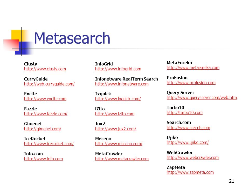Metasearch Clusty http://www.clusty.com