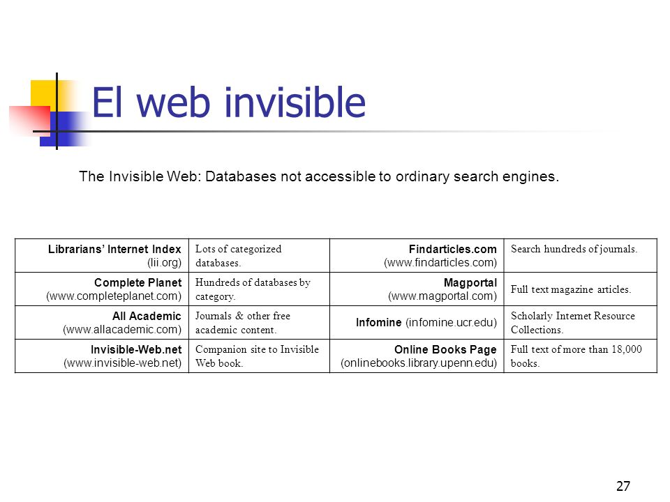 El web invisible The Invisible Web: Databases not accessible to ordinary search engines. Librarians' Internet Index (lii.org)