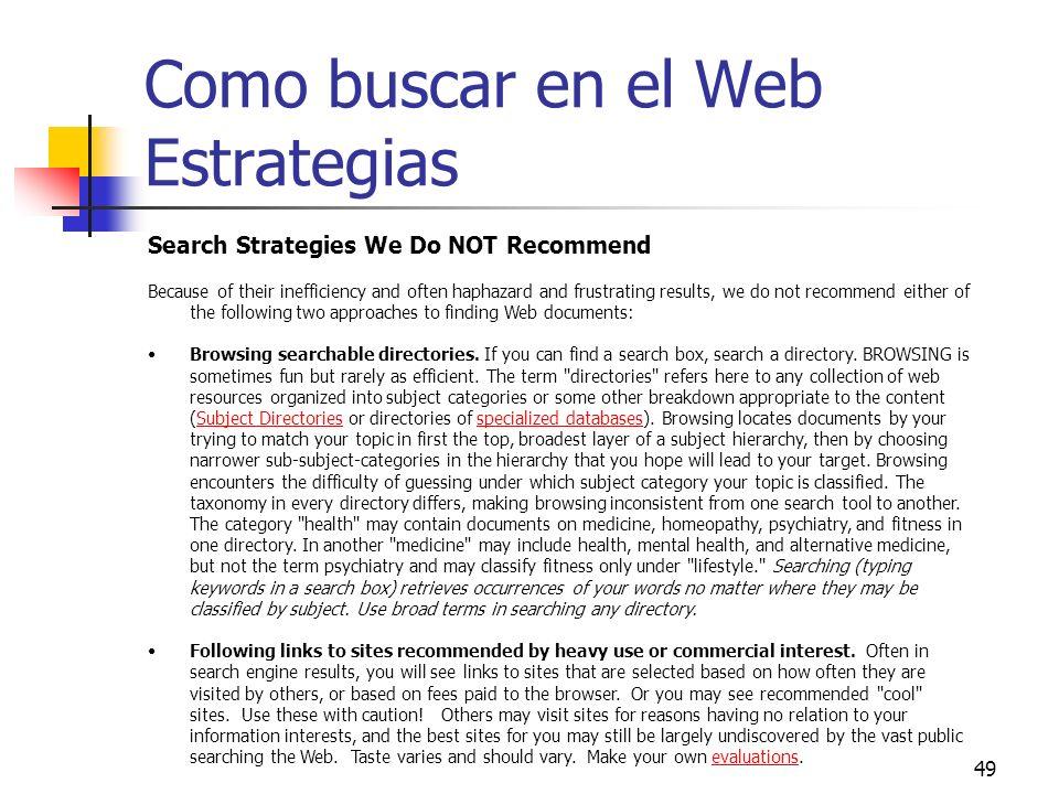 Como buscar en el Web Estrategias