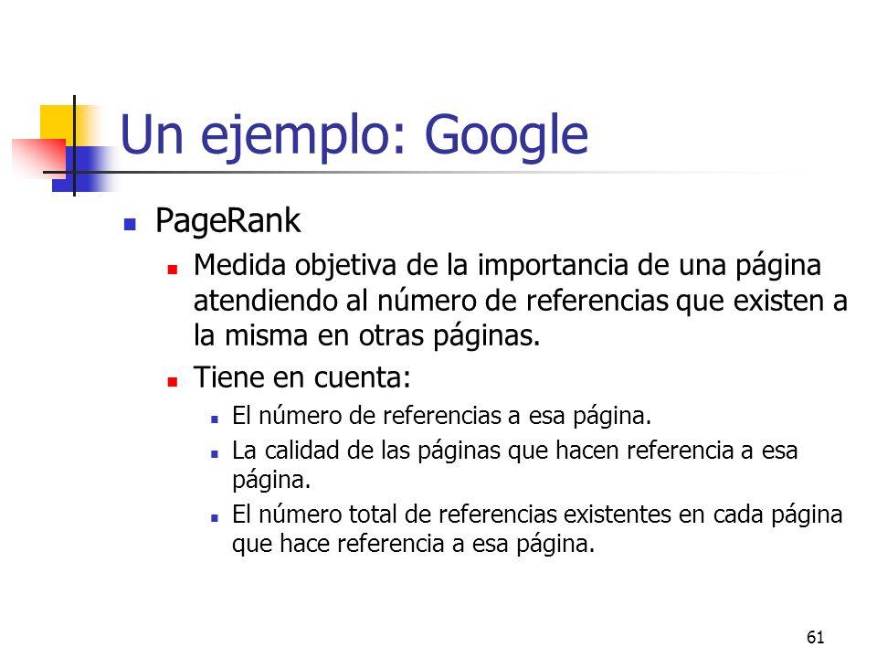 Un ejemplo: Google PageRank