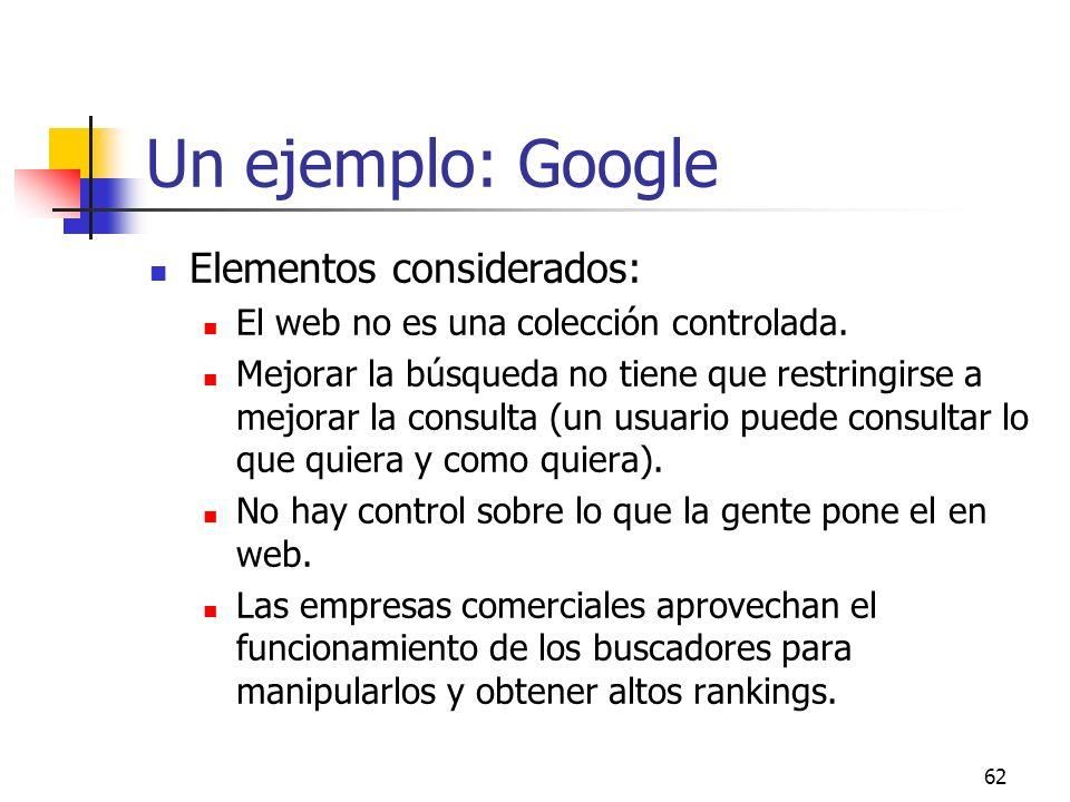 Un ejemplo: Google Elementos considerados: