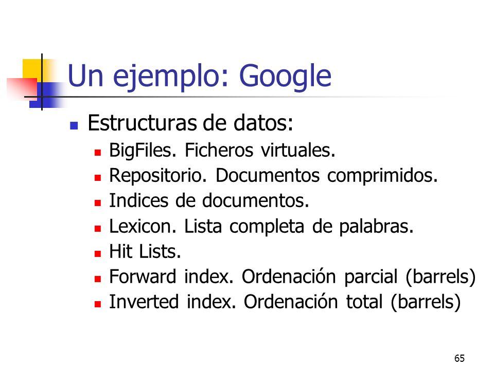 Un ejemplo: Google Estructuras de datos: BigFiles. Ficheros virtuales.