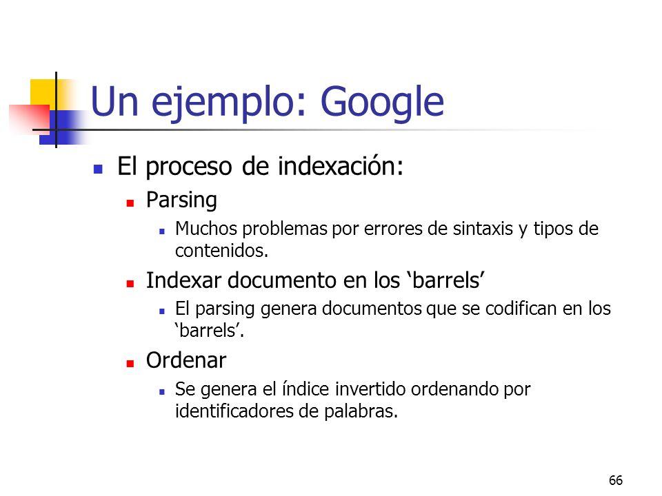 Un ejemplo: Google El proceso de indexación: Parsing