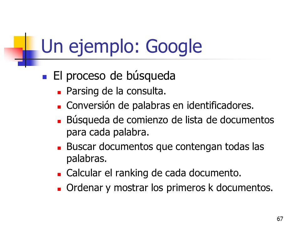 Un ejemplo: Google El proceso de búsqueda Parsing de la consulta.