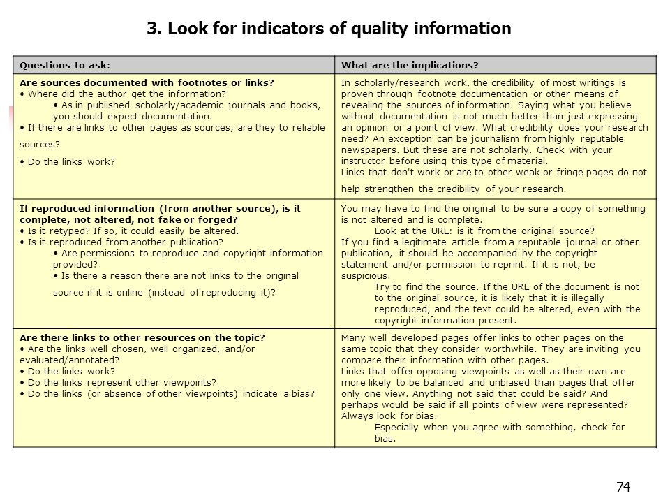 Evaluar páginas 3. Look for indicators of quality information