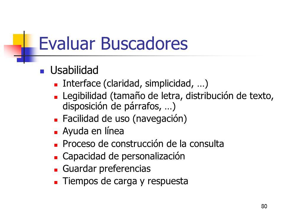 Evaluar Buscadores Usabilidad Interface (claridad, simplicidad, …)