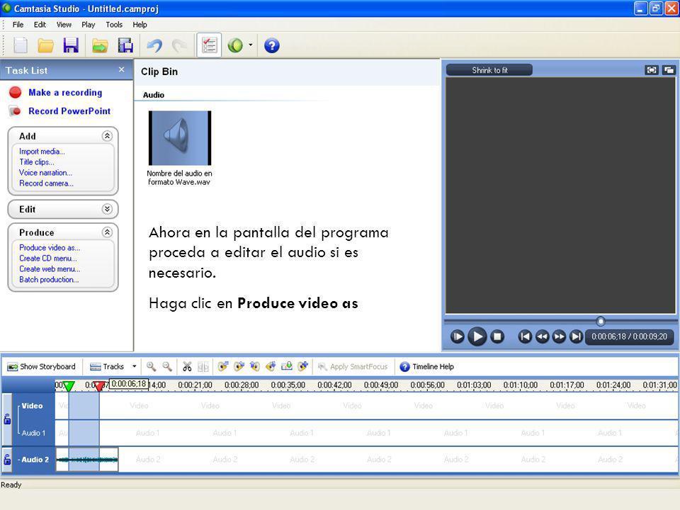 Posteriormente se graba el archivo como audio en formato Wave, puede escuchar su grabación haciendo doble clic sobre el archivo.