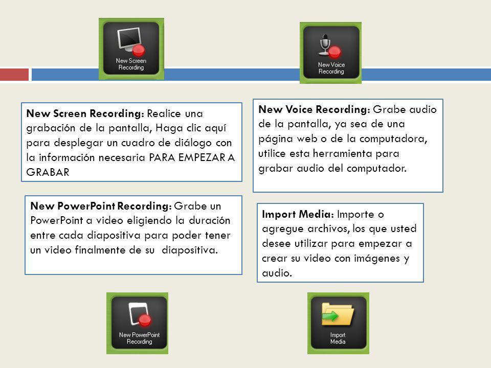 New Voice Recording: Grabe audio de la pantalla, ya sea de una página web o de la computadora, utilice esta herramienta para grabar audio del computador.