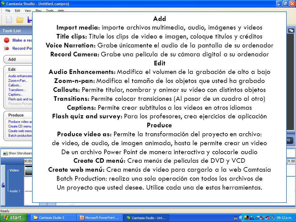 Import media: importe archivos multimedia, audio, imágenes y videos