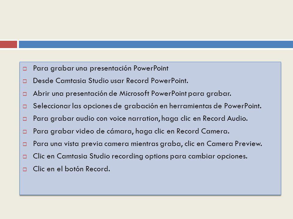 Para grabar una presentación PowerPoint