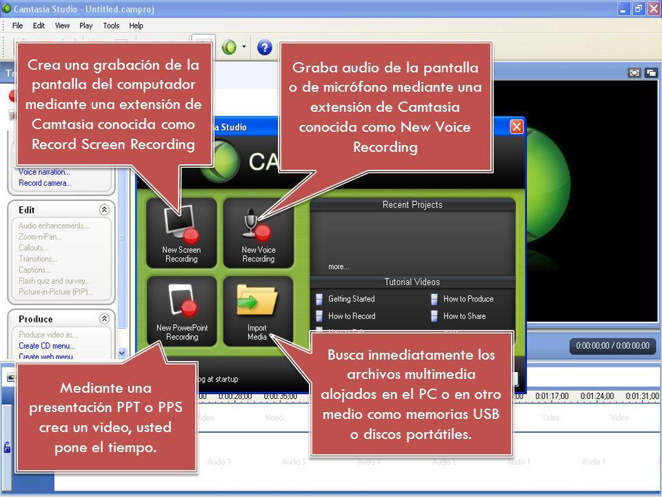 Crea una grabación de la pantalla del computador mediante una extensión de Camtasia conocida como Record Screen Recording