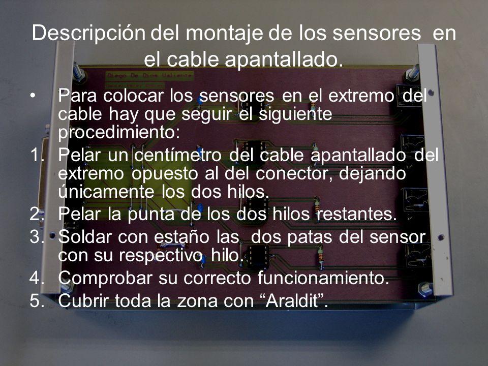 Descripción del montaje de los sensores en el cable apantallado.