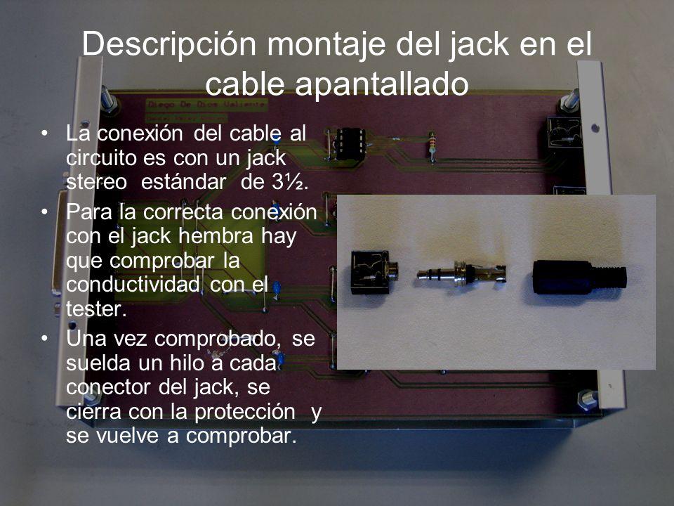 Descripción montaje del jack en el cable apantallado
