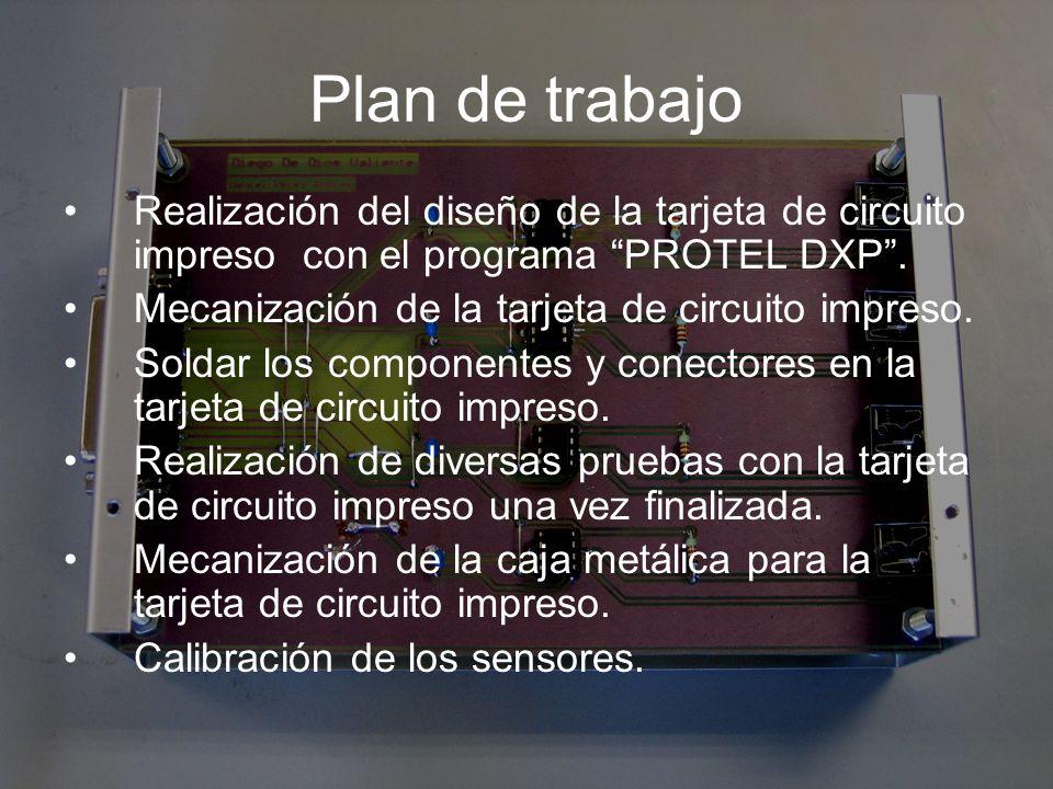 Plan de trabajo Realización del diseño de la tarjeta de circuito impreso con el programa PROTEL DXP .