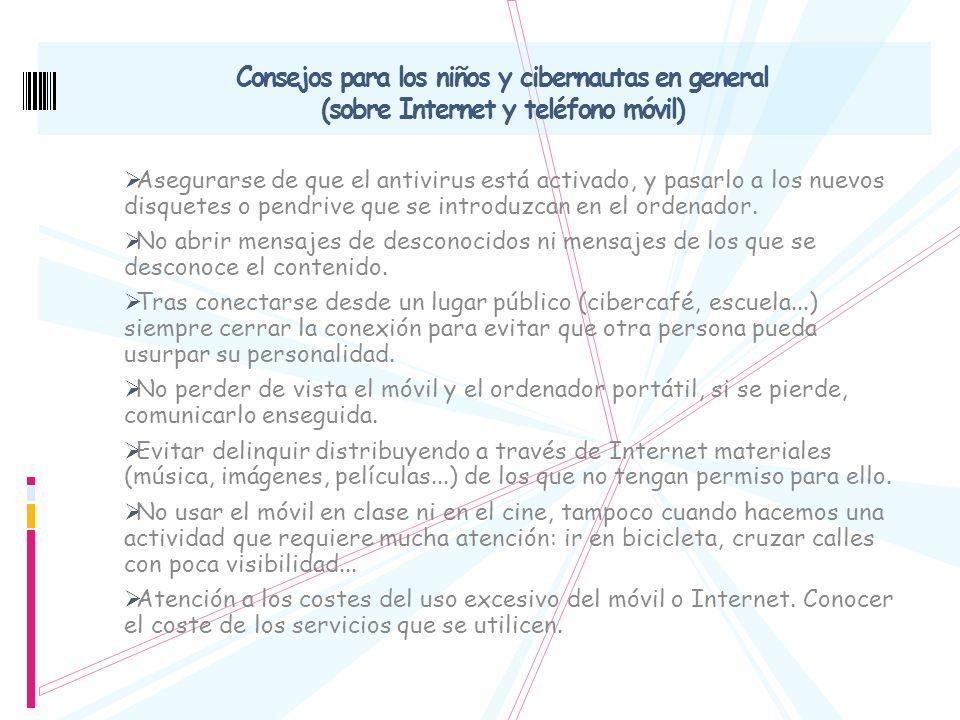 Consejos para los niños y cibernautas en general (sobre Internet y teléfono móvil)