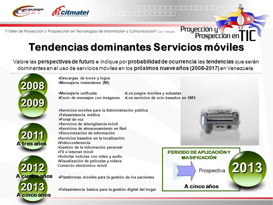 Tendencias dominantes Servicios móviles