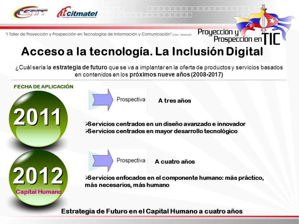 2011 2012 Acceso a la tecnología. La Inclusión Digital