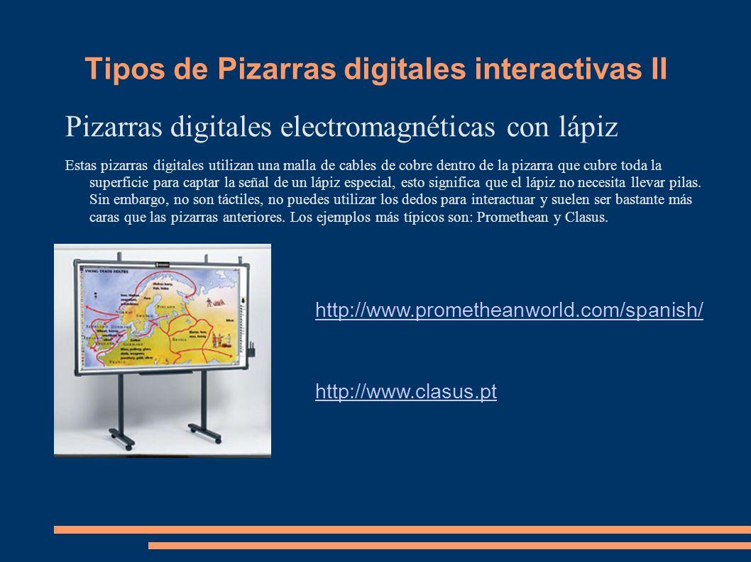 Tipos de Pizarras digitales interactivas II