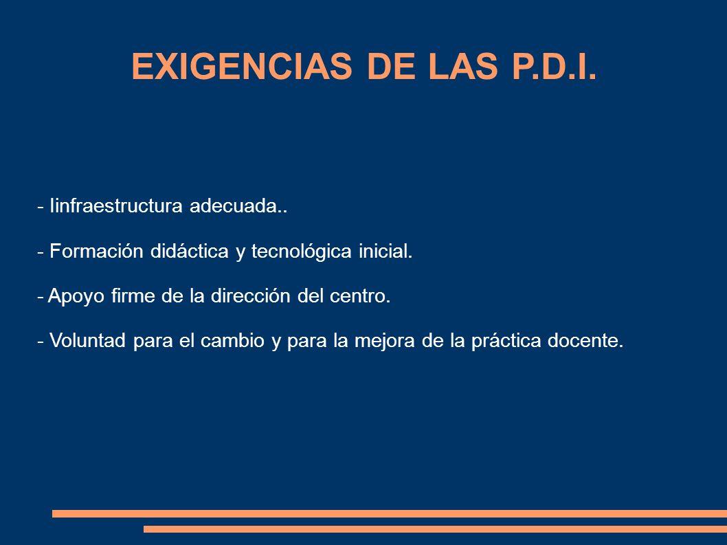 EXIGENCIAS DE LAS P.D.I. - Iinfraestructura adecuada..