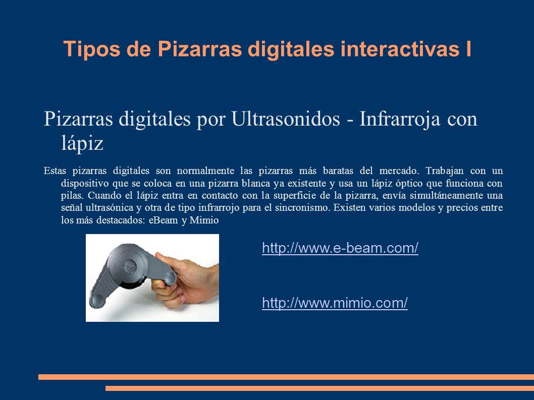 Tipos de Pizarras digitales interactivas I