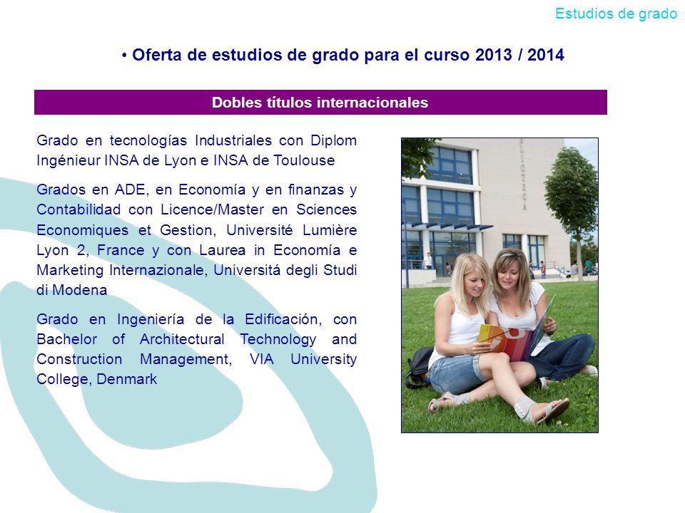 Oferta de estudios de grado para el curso 2013 / 2014