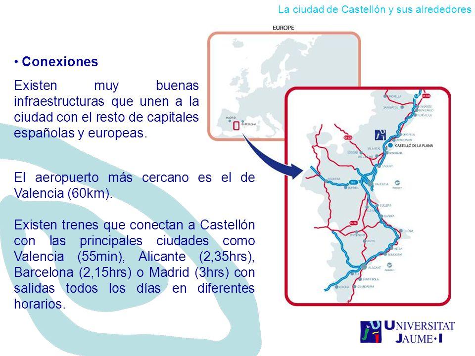 El aeropuerto más cercano es el de Valencia (60km).