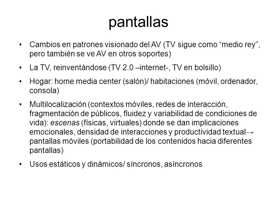 pantallas Cambios en patrones visionado del AV (TV sigue como medio rey , pero también se ve AV en otros soportes)