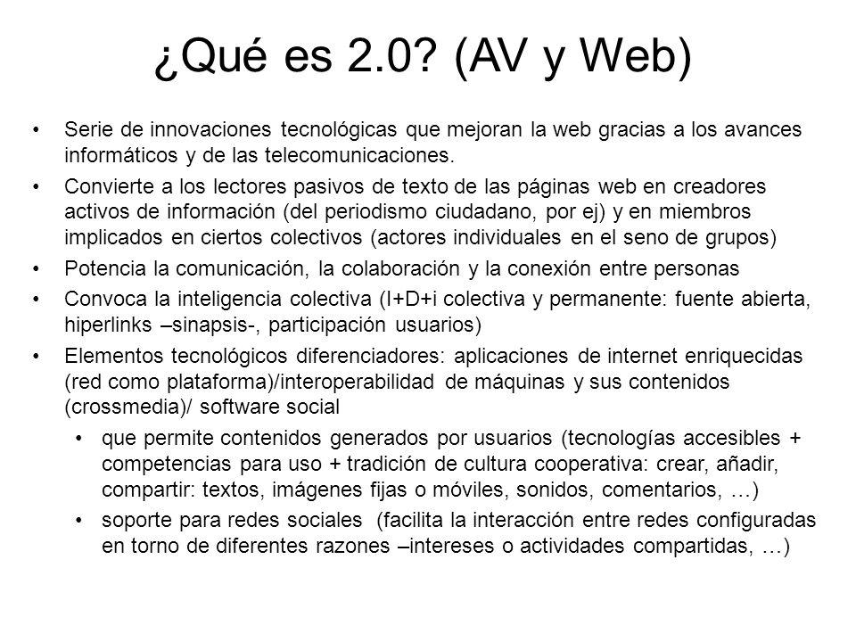 ¿Qué es 2.0 (AV y Web) Serie de innovaciones tecnológicas que mejoran la web gracias a los avances informáticos y de las telecomunicaciones.