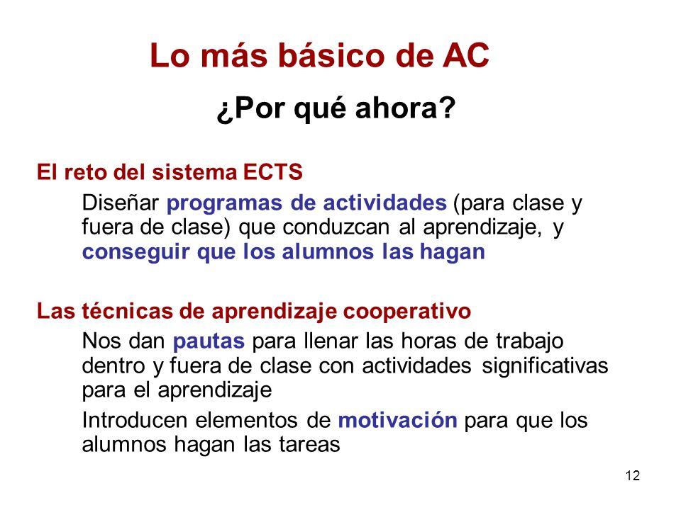 Lo más básico de AC ¿Por qué ahora El reto del sistema ECTS